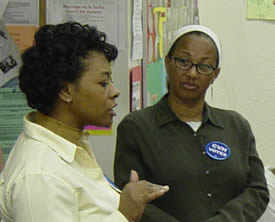 Members of Community Voices Heard at a meeting before the 2004 election.